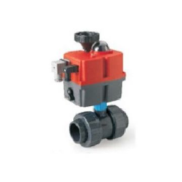 PVC-U Elec Actuated DU Ball Valve BSP FPM 85-240v - BSP Thread